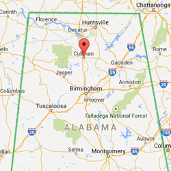 North Alabama Map Noting Cullman